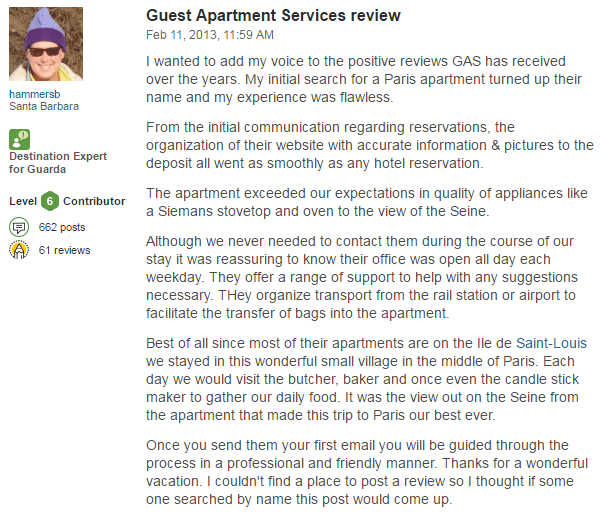 Trip advisor luxury apartments reviews in paris for Apartment reviews