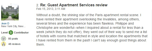 Paris reviews Guest Apartment luxury rental