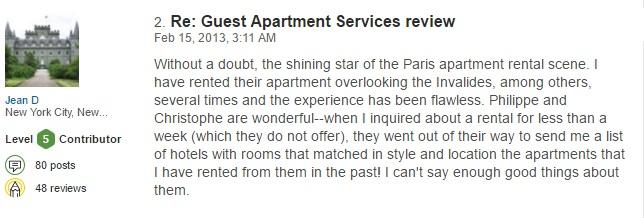 Paris reviews Guest Apartment luxury rental