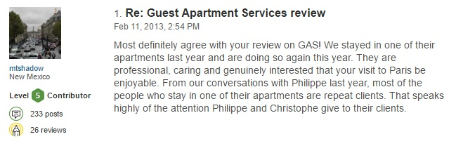 Paris reviews Guest Apartment services trip advisor