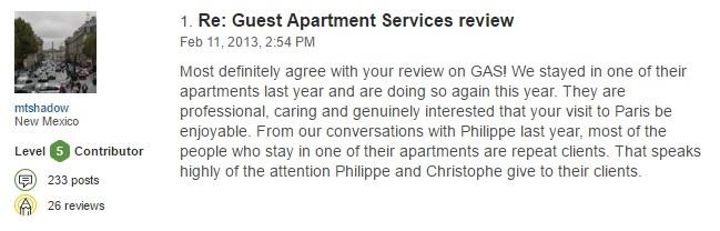 Paris reviews Guest Apartment services trip advisor