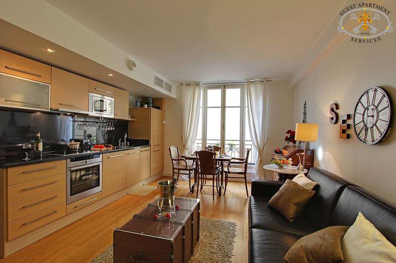 3 Luxury Apartments Paris Ile Saint Louis Short Term  Rental Living Room Open Kitchen Concierge Services Ginger